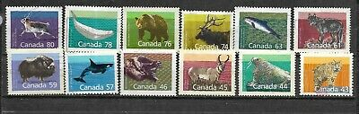 pk43017:Stamps-Canada Lot of 12 Assorted Mammal Definitive Issues - Used