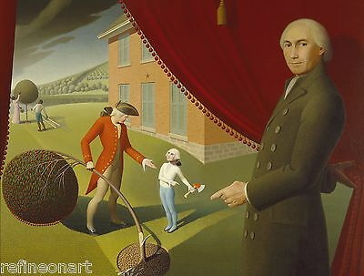 Handmade Oil Painting Repro Grant Wood 's Parson Weems' Fable