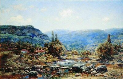 Oil Painting repro Ivan Avgustovich Welz Falcon Crimea, rest in mountains