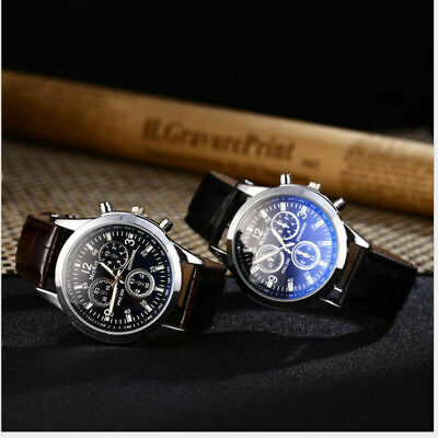 Men's NEW Faux Leather Band Watch Luxury Date Military Analog Watch Fashion