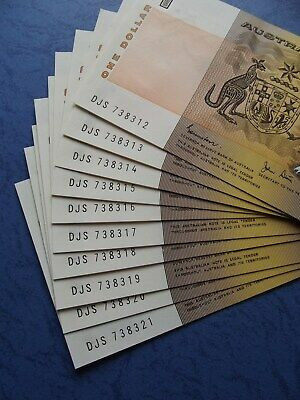 1982 - 10 CONSECUTIVE $1 Dollar - Paper Banknotes - Straight From BUNDLE-Superb