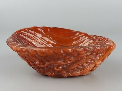 Chinese Exquisite Hand-carved vegetables Carving Ox Horn bowl