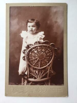 Antique Cabinet Card Photo Beautiful Victorian Girl Albia Iowa Edwards Wicker