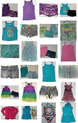 Girls Size 10 Summer Clothing, Shorts, Tops, Swimsuit, Clothes LOT, Justice