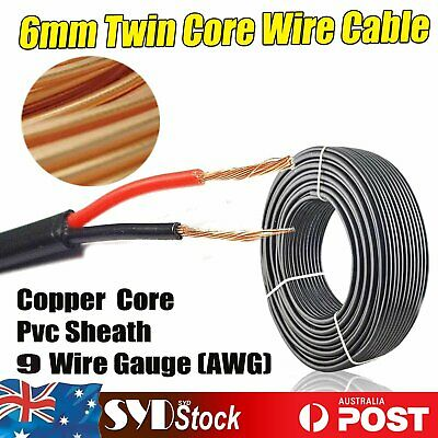 6MM Twin 2 Core Cable  12V 24V Insulated & Sheathed.Car Truck Solar Panels 5Mtr.