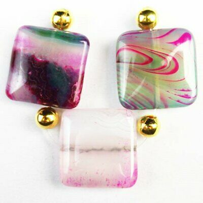 3Pcs/Set Purple Green Onyx Druzy Geode Agate Square Pendant Bead A76596