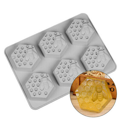 6-Cavity Honey Bee Soap Mold Silicone Mould Tray for Homemade DIY Making New