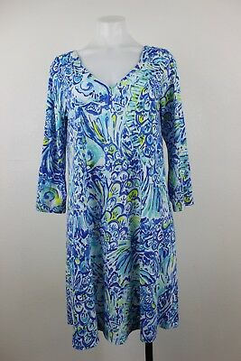 75cb4eca8c056d Lilly Pulitzer Erin Blue Crush Ocean Print Pima Cotton Shift Dress Medium