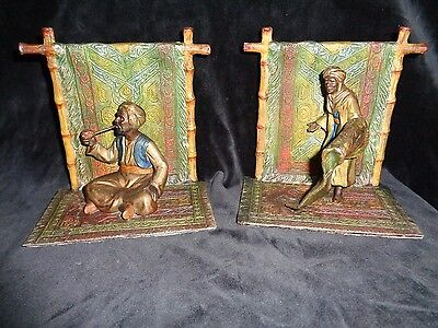 Pair of Antique Austrian bronze book eds[ 19th century}