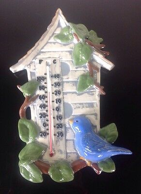 """Large 13"""" Hand Painted Ceramic Bird House Wall Thermometer Garden Patio Blue Jay"""