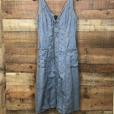 94ff6a561ff8 Anthropologie Holding Horses Size 8 Lace Up Strapless Atoll Denim Dress