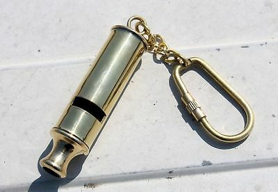 Solid Brass Conductor WHISTLE KEY CHAIN COLLECTIBLE Nautical Marine KeyGift