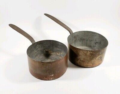 Pair of Antique Primitive Late 1800's Blacksmith Made Solid Copper Pots Cooking