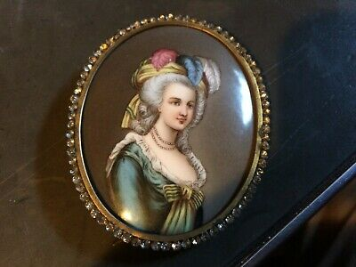 Antique French Hand Painted  Porcelain Plaque In Jeweled Frame Beautiful Woman