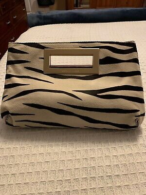 dc06e4d4ab81ad Michael Kors Medium Berkeley Zebra Black/white Print Calf skin Clutch Purse