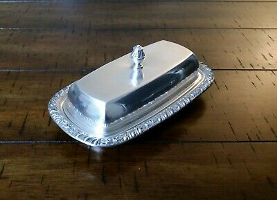 CLEARANCE Vtg Antique Oneida Henley Silver-plated Butter Dish Tray & Cover