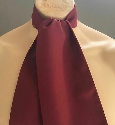 AUSTICO Vintage Mens Burgundy Colour Cravat/Ascot