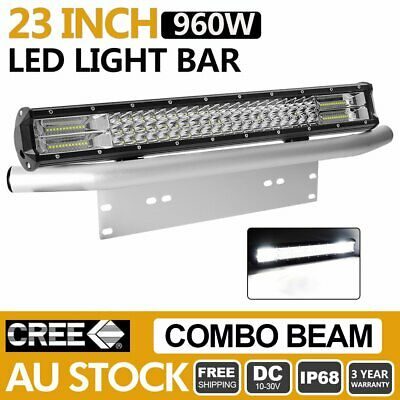 23inch 960W Tri Row Philips LED Light Bar Combo Beam+ Number Plate Frame Silver