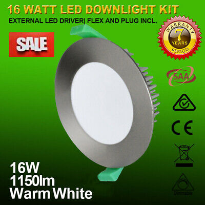 16W Ip44 Satin Chrome Dim Led Downlight Kit Warm White 1150Lm 90Mm Cutout Saa