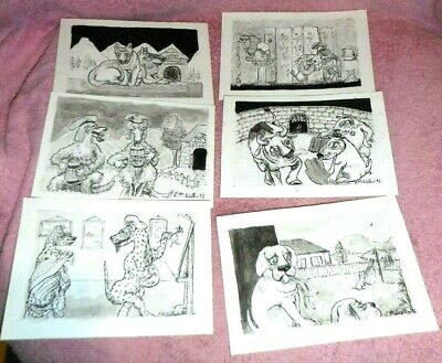C.M. Walters Original Signed Drawings -  6 Signed Drawings (15cm x 10cm)
