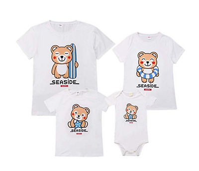 Family Matching Outfits Cute Cartoon BearBaby Mother Daughter Father Son T Shirt
