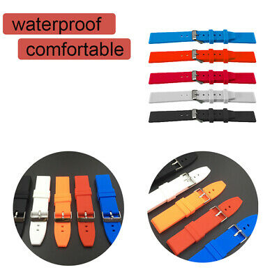 Silicone Waterproof Wrist Watch Band Strap Replacement 16/18/20/22/24/26/28mm