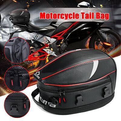 Motorcycle Touring Rear Pillion Seat Tail Bag Case Expandable Waterproof Luggage
