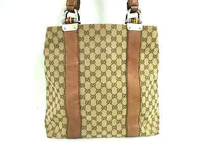 ffcf2aed074 Auth GUCCI GG Bamboo 232946 Beige Brown Jacquard   Leather Tote Bag