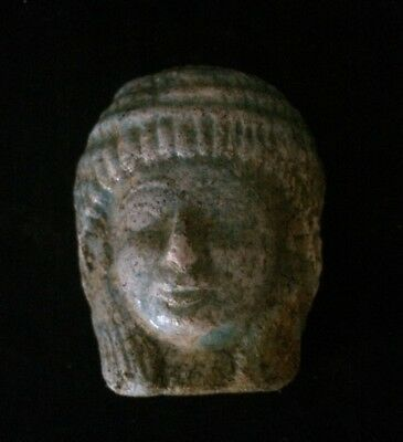 ANCIENT EGYPTIAN ANTIQUES EGYPT Faience Head of Woman MASK STATUE 600–1000 B.C