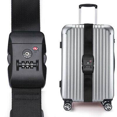 Black Long 2M Travel Luggage Straps TSA Adjustable Suitcase Belt Buckle Lock AU