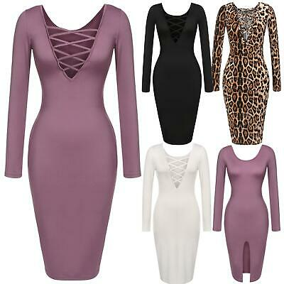 Women Lady Casual Long Sleeve High Waist Sexy Bodycon Party Solid Dress U8HE 01