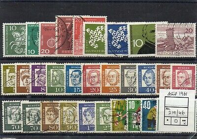 Lote de 30 sellos de Alemania Occidental  - Año 1961 - Usados