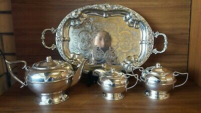 Vintage silver plated Perfection coffee + milk+ sugar pot+ large plate