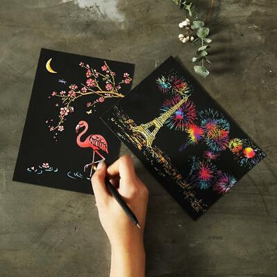 DIY Drawing Painting Scratch Coloring Multicolor Flower Pattern Postcard U8HE 03