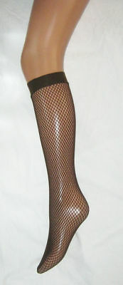2 pairs Dark Brown Fishnet Pop Socks. Sox Knee High Tights.
