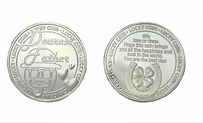 Engraved Silver Dearest Father Lucky Coin Dad Gift Sentimental Fathers Day Gift