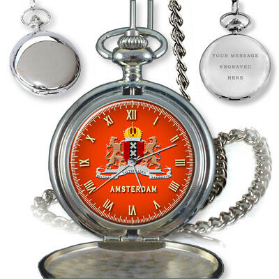 City Of Amsterdam Coat Of Arms Netherlands Pocket Watch Birthday Gift Engraving