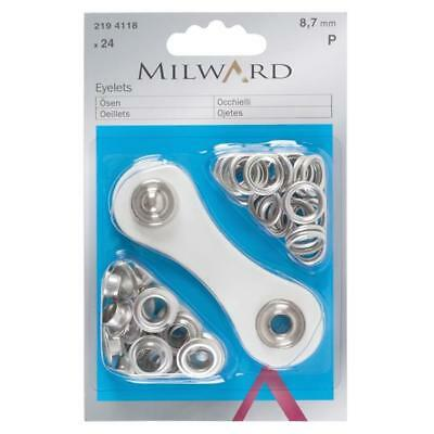MILWARD - 8.7mm - SILVER EYELET STARTER PACK - COMPLETE WITH TOOL - 24 PACK