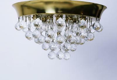 Mid-Century Kalmar Brass and Glass Flush Mount with Crystals Austria 1960's