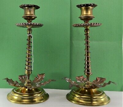 "19 c Arts & Crafts period copper brass flower candlesticks 9.1/4"" W.A.S Benson"