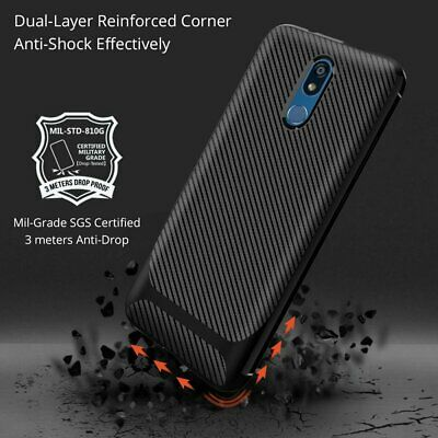 For LG K40 New Black Shockproof Silicone Hybrid Case Soft TPU Cover