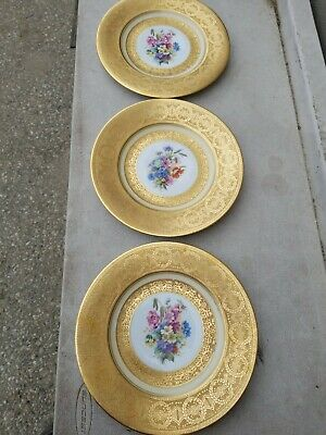 """3 Bavaria Floral Encrusted Heavy Gold Plate 10 3/4"""""""