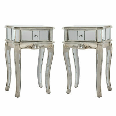 Annabelle Pair of Mirrored Silver Gilt Leaf French Style Bedside Tables