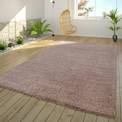 Deep-pile Rug Living Room Shaggy Soft Cuddly Modern Plain in Pink