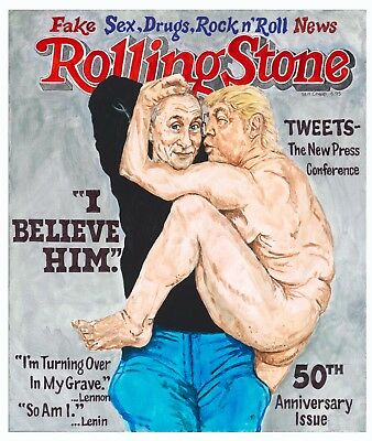 NEW Trump Putin Fake News Rolling Stone Cover Satire Original Poster Print