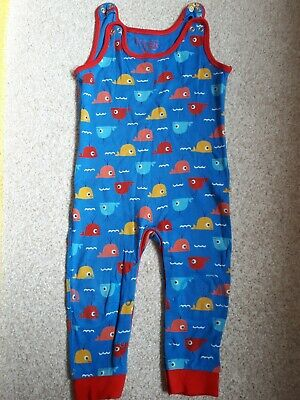 Frugi 18-24  Months Whale Blue Dungarees Crawler