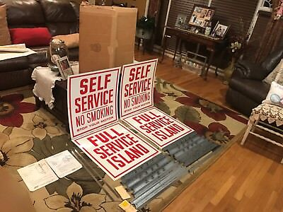 "ORIGINAL 1960s/70s SELF SERVICE ISLAND GAS STATION SIGN NOS 26"" X 24"" MINT OIL"