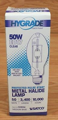 Hygrade Satco ED17 (S5854) Clear 50W Medium Base Metal Halide Lamp Bulb