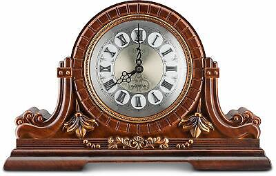 Decodyne Mantel Clock With Roman Numerals, Antique Design, Faux Wood