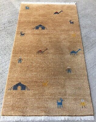 Tapis Moderne Ghabbeh Inde Noué 160x90cm Tappeto Alfombra Teppiche Rugs Carpet